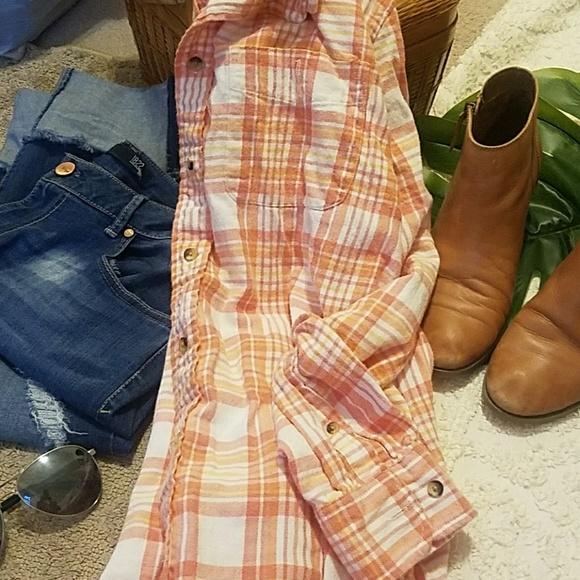 Arrow Tops - Custom bleached plaid flannel distressed sz large